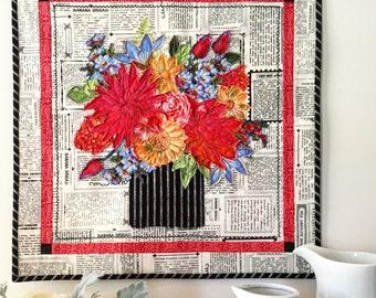 Multi Color Fabric Collage Bouquet