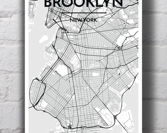 Black & White Brooklyn City Map Print