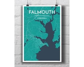 Falmouth, Cornwall - City Map Print