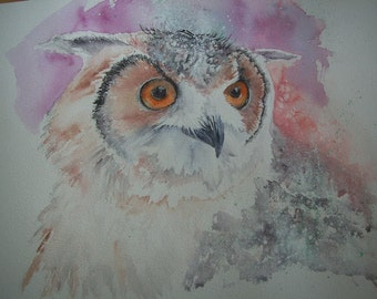 Owl watercolour painting