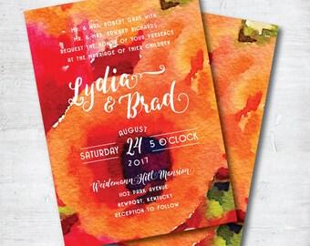Watercolor Wedding Invitation, Printable Wedding Invitation, Peach Wedding Invitation, Printable, Wedding, Invitation, Suite, Set, Floral