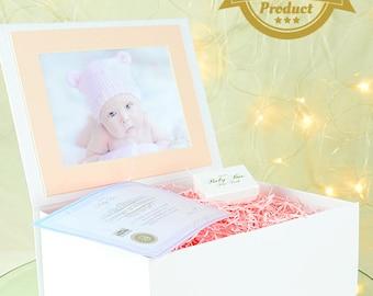 Baby Keepsake Box by Original Baby Box – White/Pink Baby Girl Memory Box 220x280x110mm