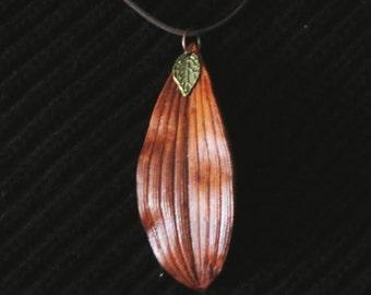 Leather Leaf Pendant with Small Antique Brass Leaf Fantasy Pendant Elvish Pendant Molded Leather Boho Pendant