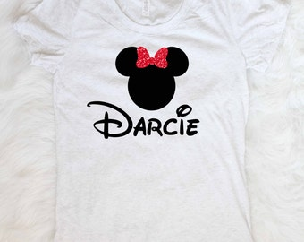 Free shipping little girls custom disney shirt minnie mouse personalized shirt disneyland shirt minnie mouse t-shirt