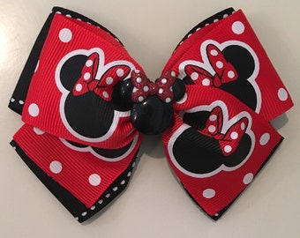 Red & Black Minnie Mouse Bow