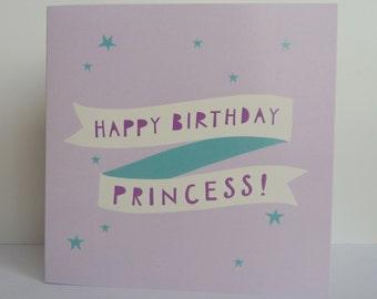 Birthday Card Girls Birthday Card Princess Birthday Card Girl Birthday Happy Birthday Cute Card Girls Card