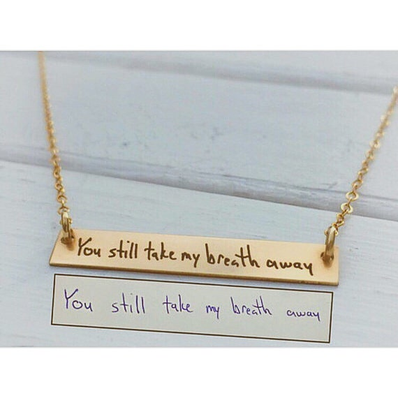 handwritten jewelry horizontal gold bar necklace personalized. Black Bedroom Furniture Sets. Home Design Ideas