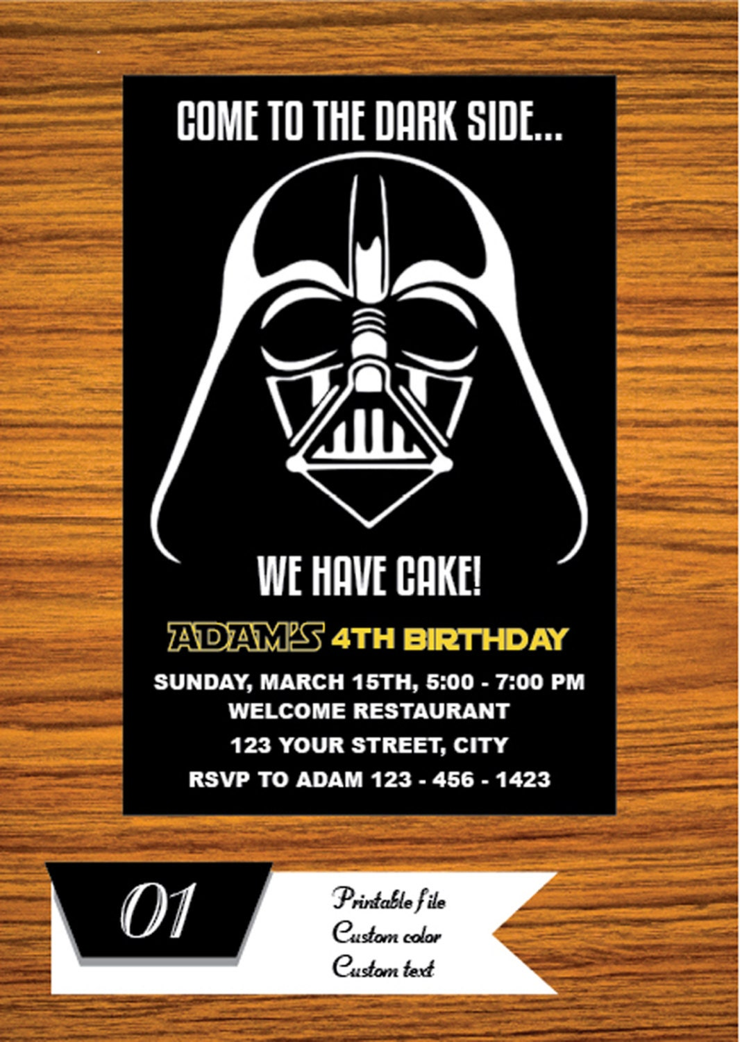 This is a picture of Gutsy Printable Star Wars Invitation