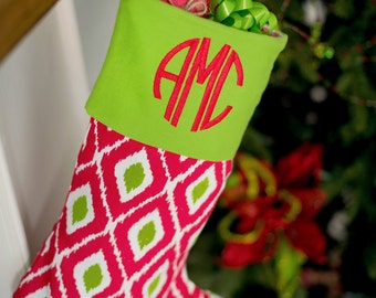 Red and Green Ikat Santa Stocking - Christmas Stocking - Monogrammed - Personalized