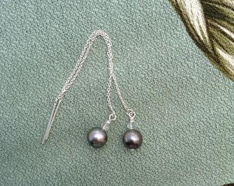 Tahitian Pearl Sterling Silver Threader Earrings