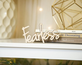 FEARLESS, wood wall decor, home, word, baltic birch, sign, phrase, decoration