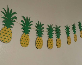 Pineapple party pineapple banner, Hawaiian luau, Hawaiian party, pineapple bunting,pig roast, tiki party,  tropical party, tropical wedding,