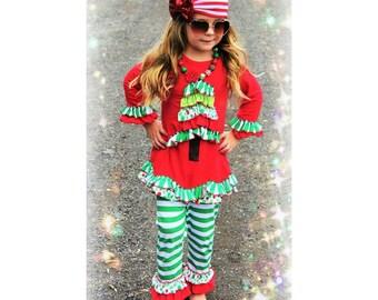 Girls Christmas Tree Ruffle Outfit