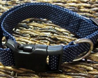 Navy Poka Dot Dog Collar