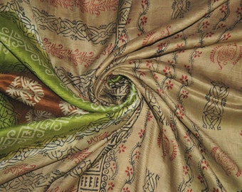 Vintage Sari Pure Silk Decor Craft Decor Saree Fabric Floral Printed Wrap India Clothing Sarong PS541 Free Shipping