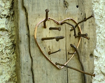 Heart sculpture, One of a kind heart, Recycled copper heart, Copper heart wall art, Upcycled wall art, Heart wall decor, Rustic heart.