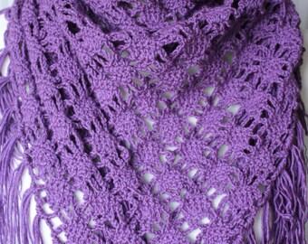 Triangle shawl purple fringe