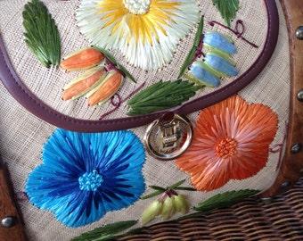 Vintage Raffia Flower and Wood Tiki Handbag