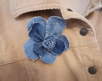 Recycled Denim/Jean Flower Pin
