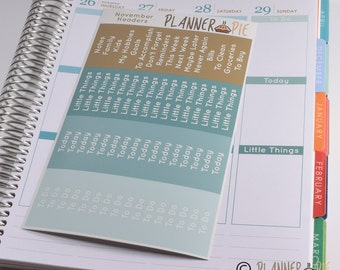 November Colored Headers for Erin Condren vertical - 64 Glossy Planner Stickers MDN headers - 009