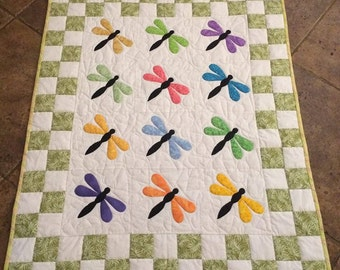 Dragonfly handmade lap/baby quilt