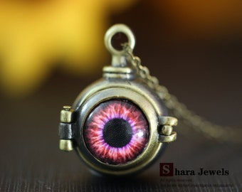 Necklace, evil eye necklace, Red eye pendant, Bronze pendant necklace