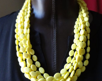 Vintage Yellow Plastic Mulit- Strand Necklace