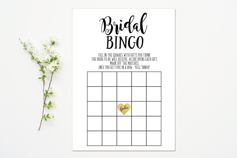 Printable Bridal Bingo Game Bridal Shower Game Black Gold