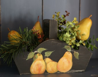 Black Distressed Basket with Pears Painted on Both Sides (foliage included)