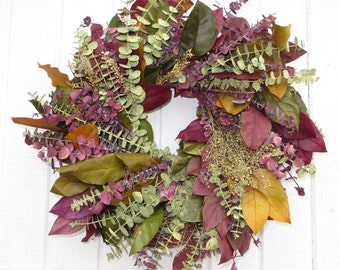 Fall Dried Flower Wreath, Fall Eucalyptus Wreath, Fall Wreath, Mixed Fall Eucalyptus Wreath, Dried Flower Wreath, Dried Floral Wreath
