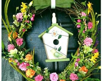 Garden Wreath, Pink Door Wreaths, Floral Wreath, Summer Wreath, Door wreath