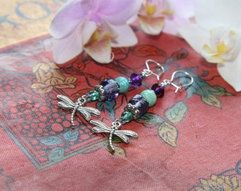 Vintage Silver plated Dragonfly Drop Earrings with Purple and Turquoise Glass Beads.