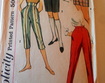 Vintage simplicity pattern, Teen capri shorts pants sewing pattern, vintage pattern