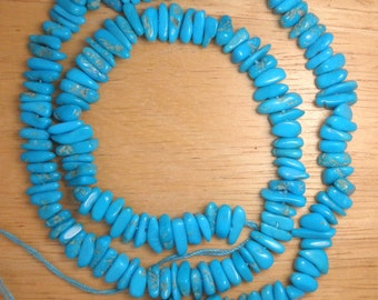 "Turquoise Sleeping Beauty  4.5 mm X 9 mm Gemstone  Chip Beads Blue 18"" Craft Gemstone Lot #5421"