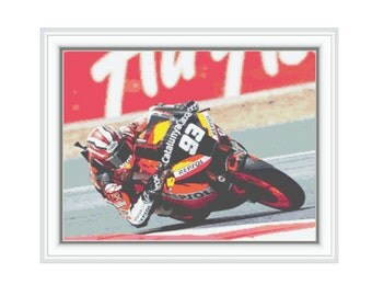 "Cross stitch pattern ""Marc Marquez"",Instant download PDF"