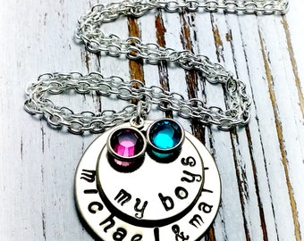 Personalized Mother and  Son Necklace, Silver, Gifts for Her, Gifts for Mom