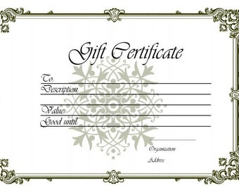 Jewelry Gift Certificate, Twenty Five Dollars, Gifts for Her, Valentine's Day