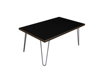 Black contemporary Coffee Table with Steel Hairpin legs
