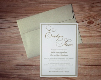 Gold Invitation, Gold Wedding Invitation, Gold Invitations, Gold Wedding Invitations, Script Invitation, Script Invitations, Script Invites