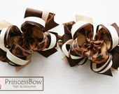 hair bow,leopard Hair Bow, brown Hair Bow, 4 Inch Hair Bow, Girl Hair Bows, Boutique Bow, Alligator Clip, Snap Clippie, Barrette
