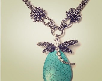 Dragonfly Statement Turquoise Necklace