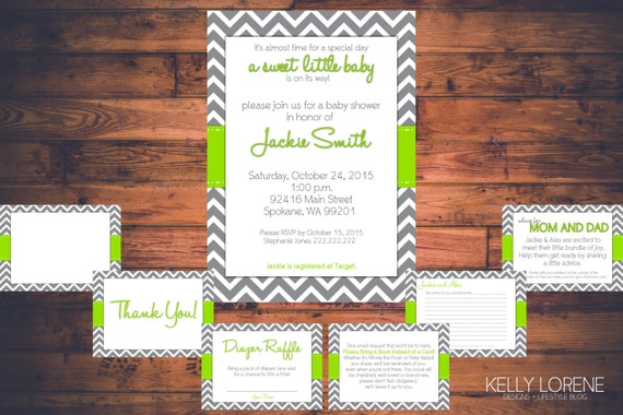 printable baby shower essentials package green w gray chevron