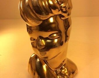 Gold Head Vase. Lady Head Vase..50% OFF!