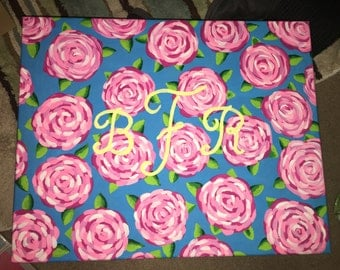 Monogram Roses Canvas