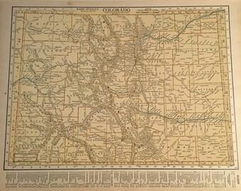 1926 Map of Colorado, Original 11x14 Map, Vintage Neutral Color Map