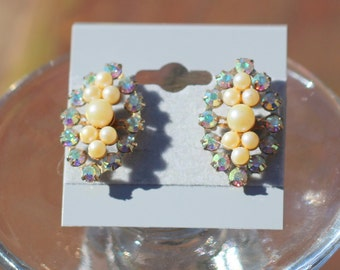 Vintage Estate Aurora Borealis AB Crystal and Pearl Art Deco Earrings