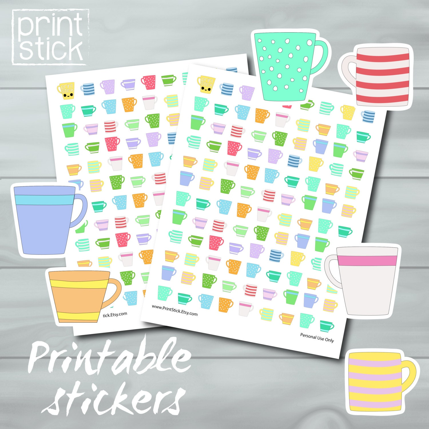 Sweet image within printable sticker sheet