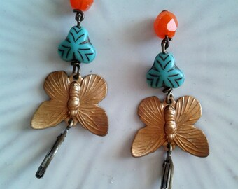 Gold Patina Dangle Earrings