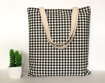 Houndstooth Canvas Tote Bag, Canvas Tote Bag, Minimalist Canvas Tote Bag, Casual Tote bag, School Tote Bag, Tote bag for Teacher, Canvas Bag