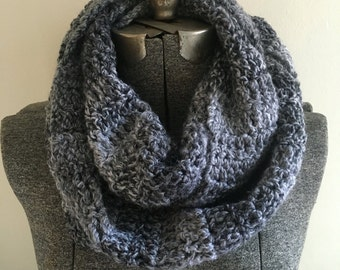 Crochet Infinity Scarf - Grey / Gift for mom, sister, grandma, friend